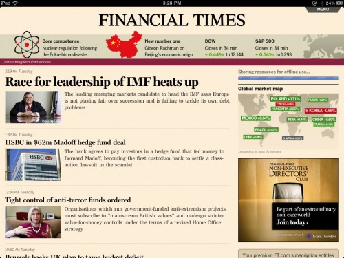 Financial Times Web App on iPad