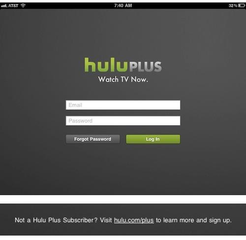 Hulu Plus login screen