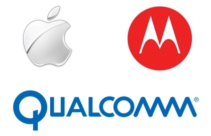 apple motorola qualcomm logos Apple Sues Motorola Over Licensing of Cellular Technology by Qualcomm