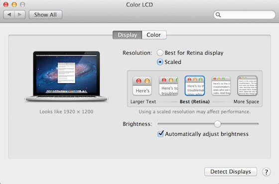 retina macbook pro display preferences