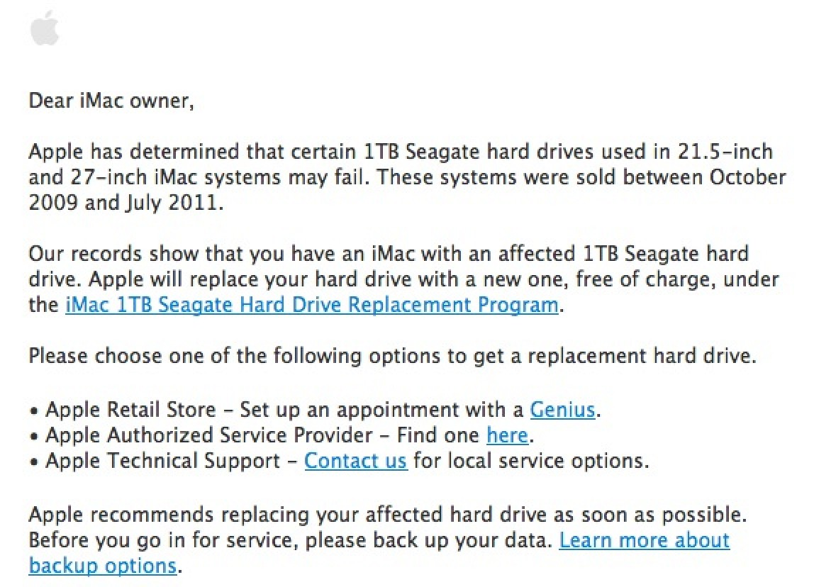 apple notifies imac owners of expanded seagate hard drive