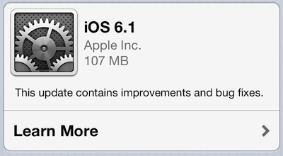 ios 6 1 Apple Releases iOS 6.1 with New LTE Carriers and Fandango Siri Integration