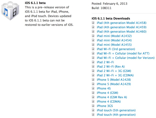 ios 6 1 1 beta 1 Apple Seeds First Beta of iOS 6.1.1 to Developers