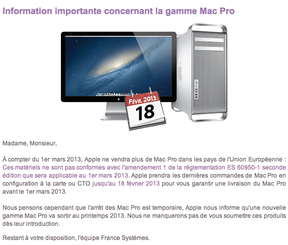 Apple Tells Reseller that the New Mac Pro is Arriving in Spring 2013
