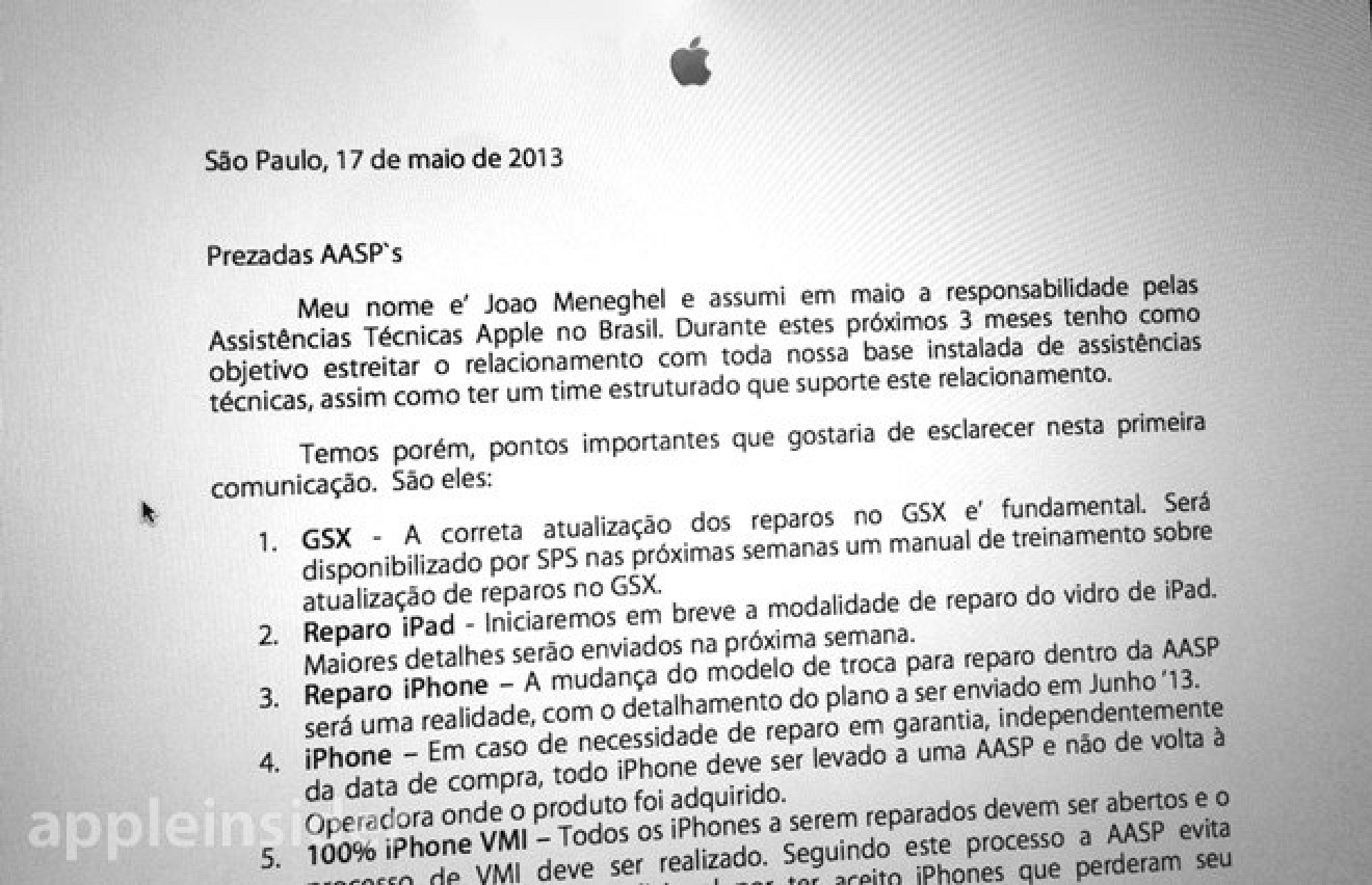Tv Service Providers >> Letter to Brazilian Apple Repair Centers Suggests June ...