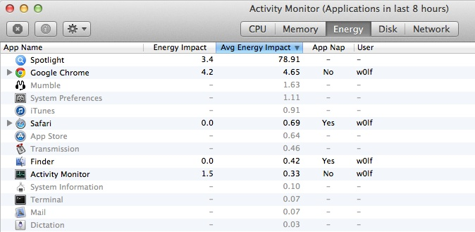 activitymonitor2 OS X Mavericks Tidbits: System Requirements, Redesigned Activity Monitor, App Battery Monitoring, and More
