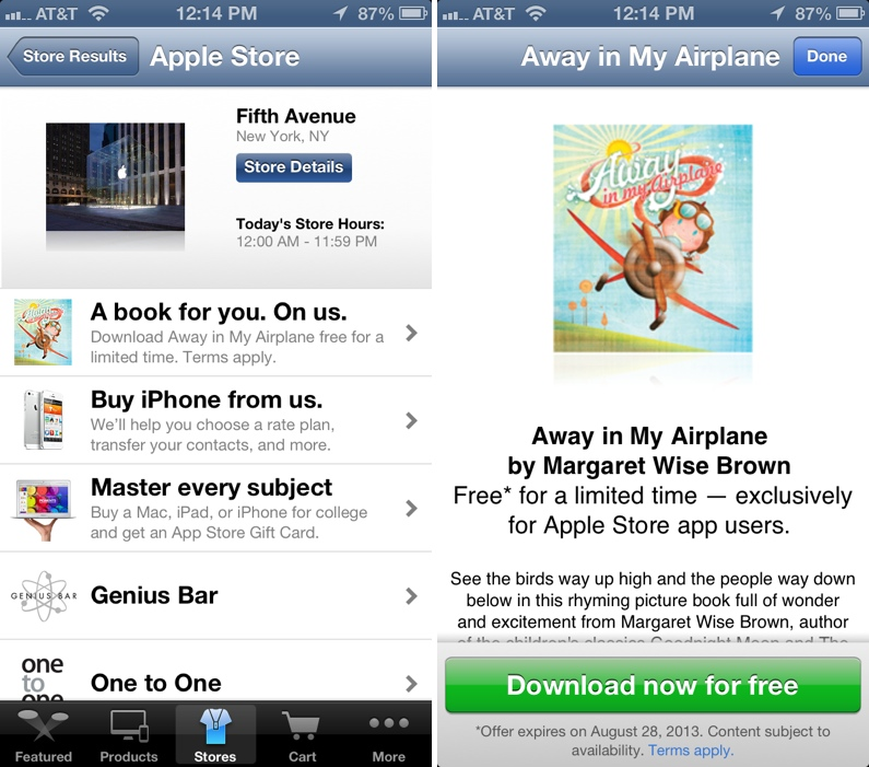 Apple Updates Apple Store App with Free iBookstore Offering