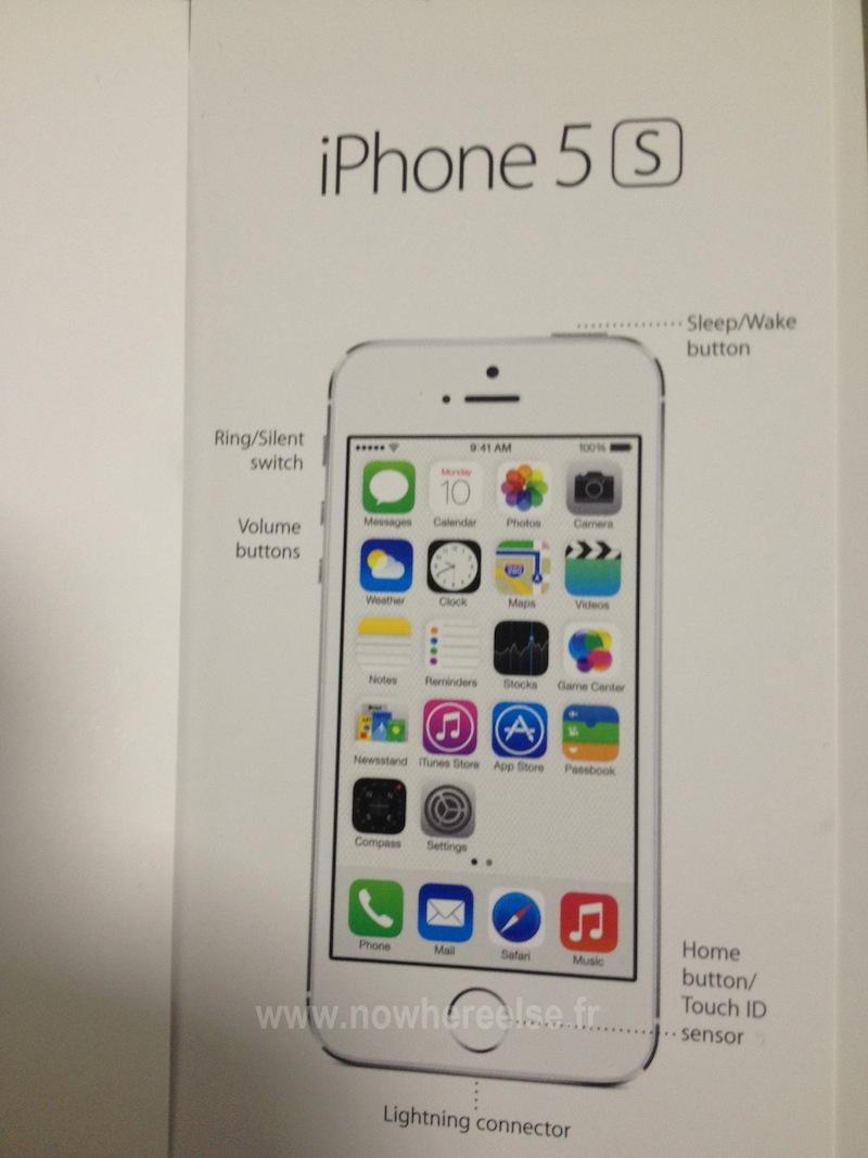 alleged iphone 5s user guide photo highlights fingerprint. Black Bedroom Furniture Sets. Home Design Ideas