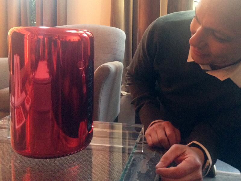 Tony Fadell With Red Mac Pro