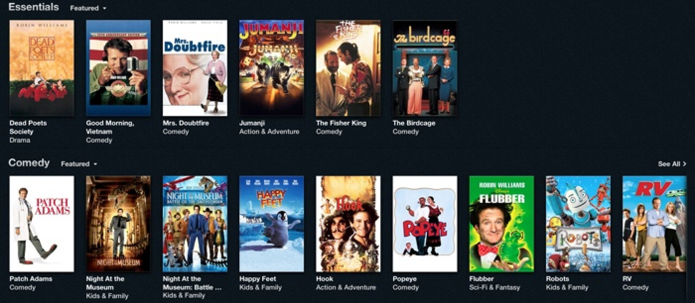 Robin Williams With iTunes Store Section Featuring More than 40 Movies cWvBEHPd
