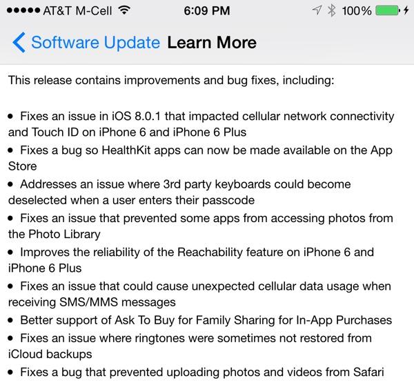 Apple vydal iOS 8.0.2