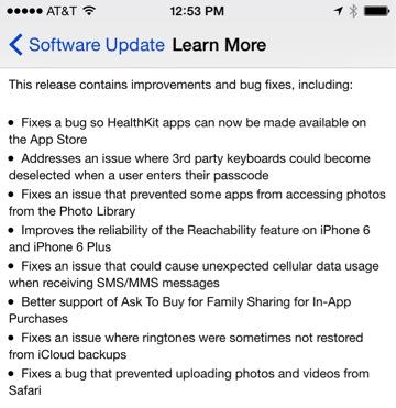 Apple vydal iOS 8.0.1, které opravuje několik chyb