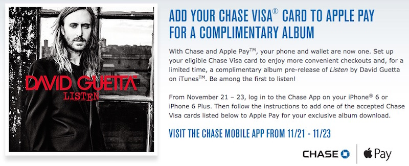 Chase Offers Apple Pay Users Free David Guetta Songs as More Retailers Jump Onboard