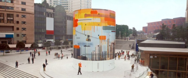 Apple china posts video showing creation of mural for new for Apple boutique mural