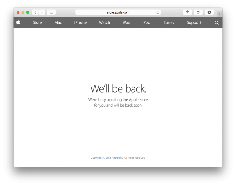 Apple Store Down Spring Forward