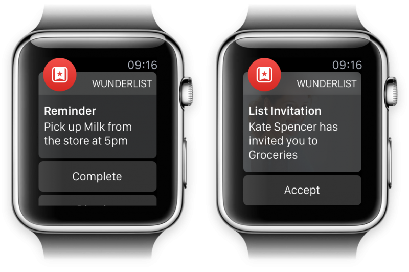 Wunderlist Apple Watch Views