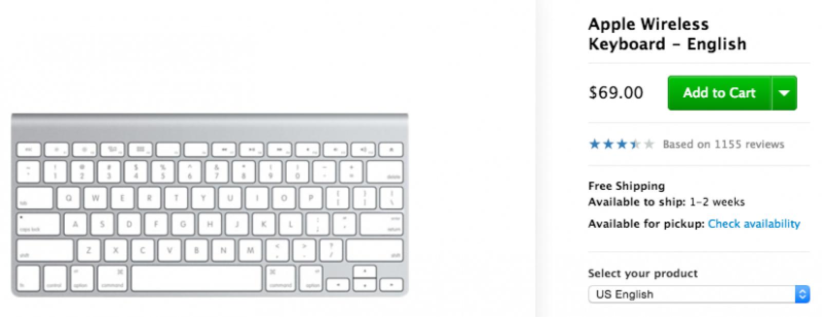 apple wireless keyboard now ships in 1 2 weeks new backlit model possible mac rumors. Black Bedroom Furniture Sets. Home Design Ideas