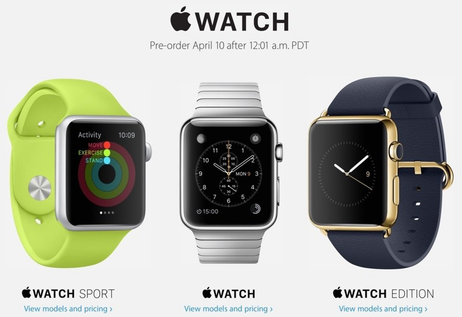 Black Friday Car Deals >> Apple Announces Apple Watch Pre-Orders Will Kick Off at 12:01 AM PT on April 10 - Mac Rumors