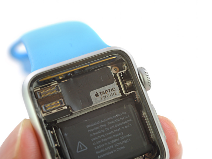 Teardown of 38mm Apple Watch Sport Reveals 205 mAh Battery, Taptic Engine