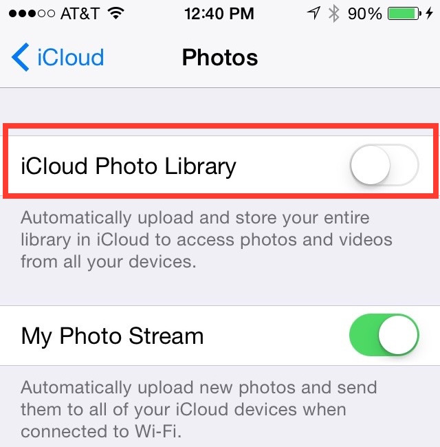 how to use icloud photo library in photos to sync pictures
