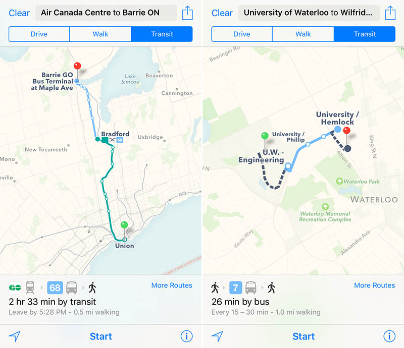 Apple Maps Transit Canada