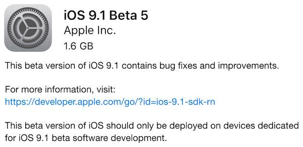 Apple vydal 5. betu iOS 9.1 pro vývojáře a veřejnost. Pro iPhony 6s jsou tu speciální sestavení