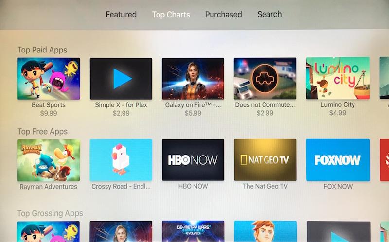 App Store pro Apple TV již obsahuje žebříčky