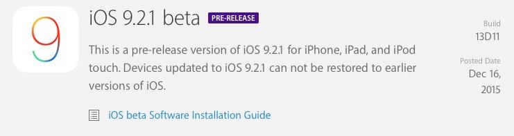 Apple vydal 1. betu iOS 9.2.1 pro vývojáře