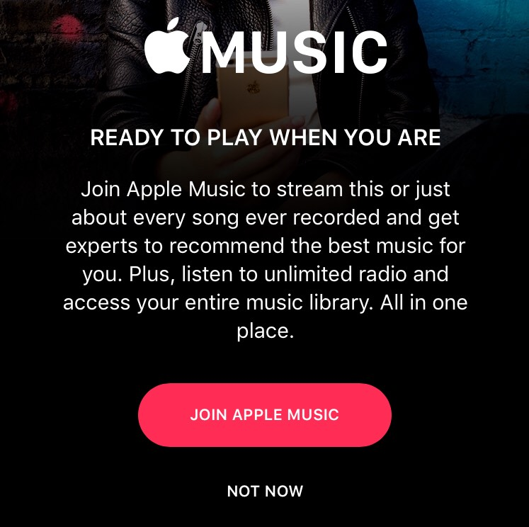 Apple Music prompt