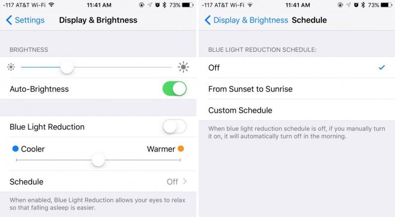iOS 9 Night Shift