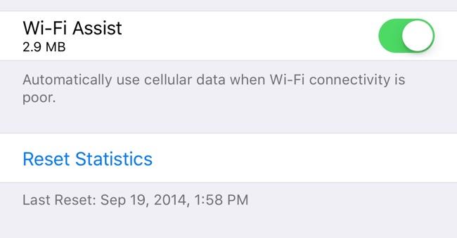Wi-Fi Asistent v iOS 9.3 bude zobrazovat využití dat