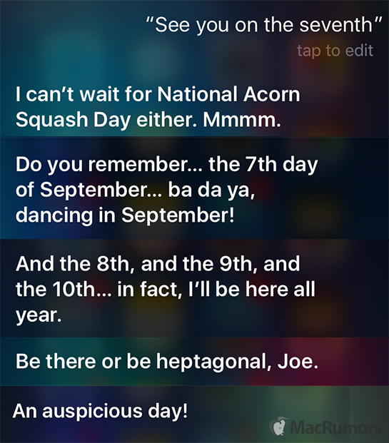 Siri Offers Witty Responses About September 7 Event