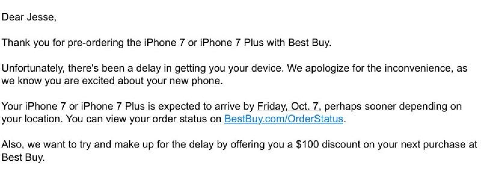 best buy delays some iphone 7 plus orders offers 100 promo code as compensation mac rumors. Black Bedroom Furniture Sets. Home Design Ideas