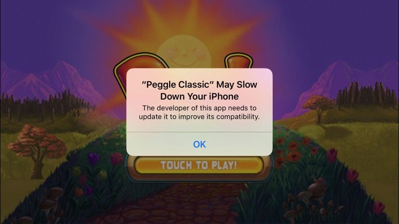 iOS error message: This app may slow down your phone.