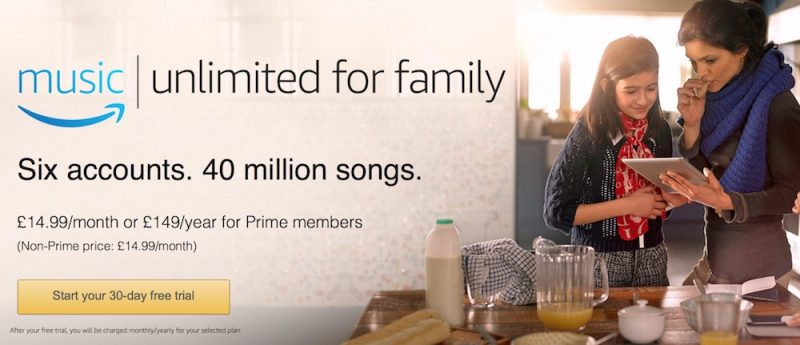 Amazon UK family plan music