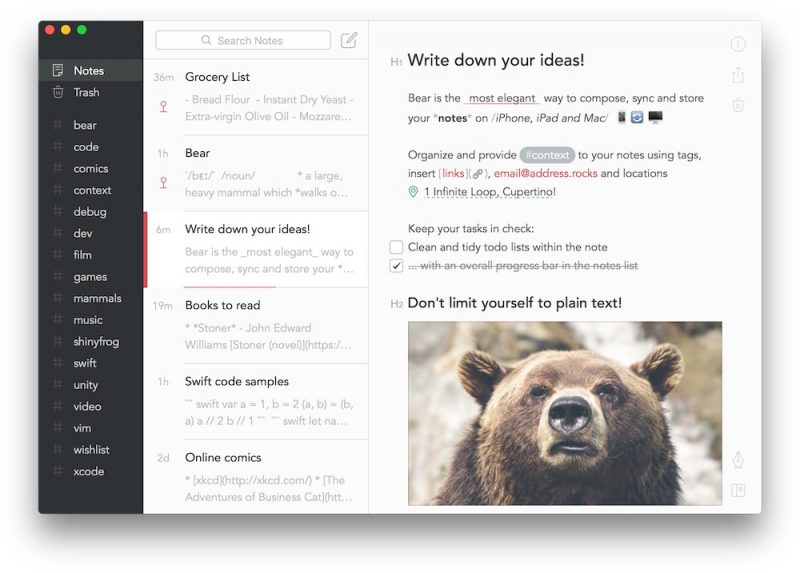 Bear Notes 1.2.2 Update Brings Text Highlighting, Multiple Windows, and More