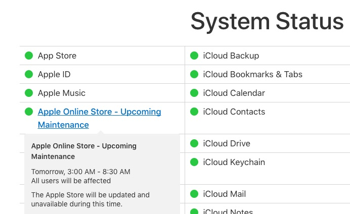 photo image Apple Online Store Going Down for 'Maintenance' Tomorrow Morning Ahead of Rumored Product Updates