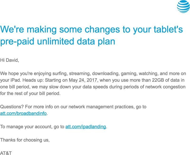AT&T Customers With Grandfathered Unlimited iPad Data Plans Will See Throttling After 22GB of Usage