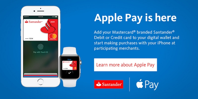Santander Bank in U.S. Now Supports Apple Pay With MasterCard Branded Credit and Debit Cards