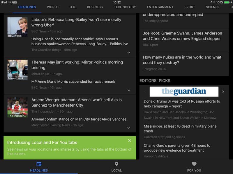 Google News Redesign Extends to Google News & Weather App