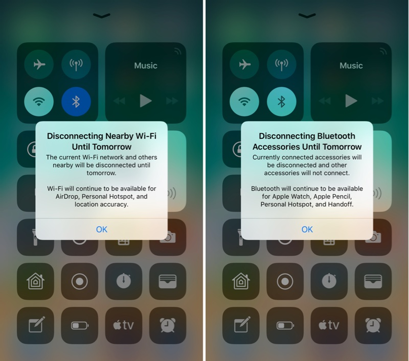 ios 11 2 beta 3 introduces pop up to explain control center wi fi bluetooth functionality