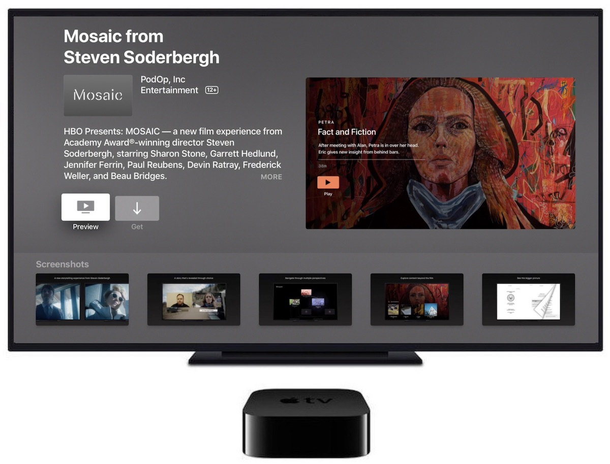 hbo s interactive tv show app mosaic launches today for ios and tvos