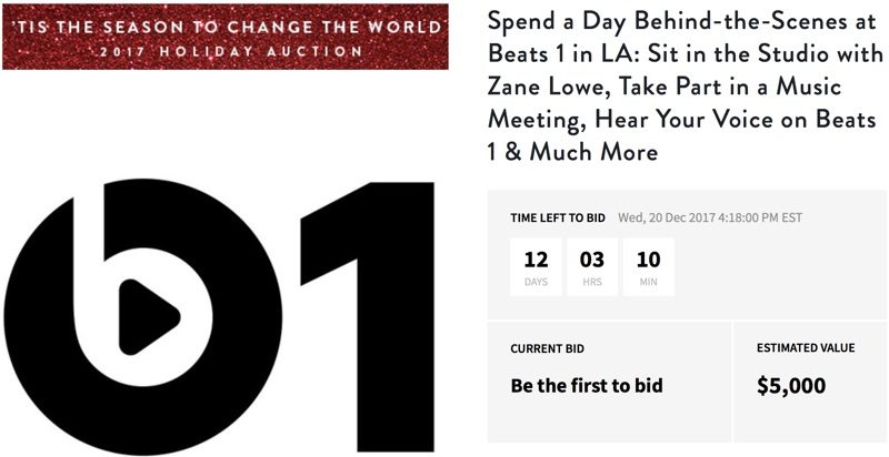 beats 1 charity auction offers behind the scenes studio tour with zane lowe