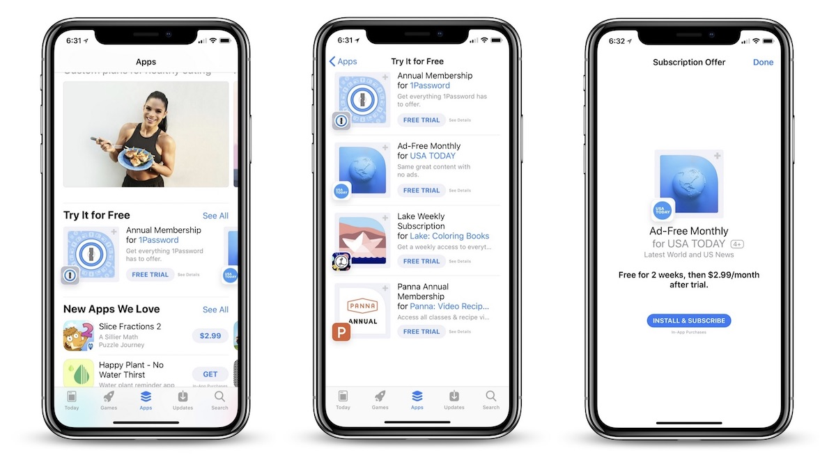 apple promotes subscription based apps with free trials in the app store