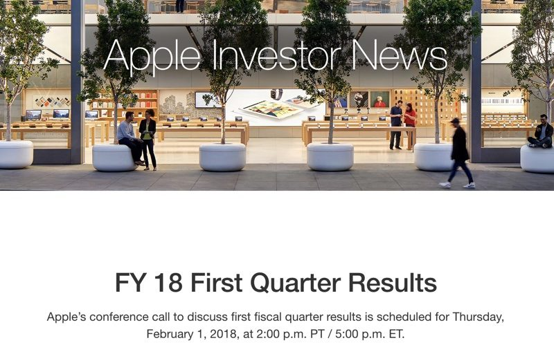 apple to announce q1 2018 earnings on february 1