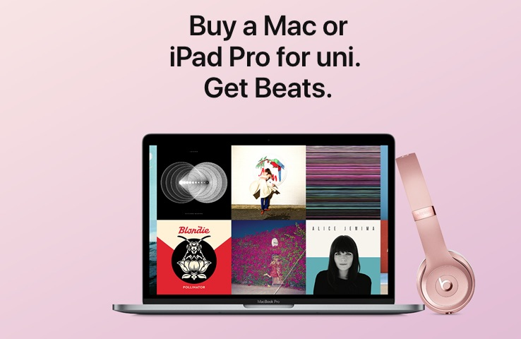 Apple Launches 'Back to University' Promo in Australia/New Zealand: Free Beats With Mac or iPad Pro