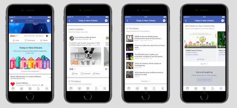 facebook is testing a new city specific today feed for local news and events