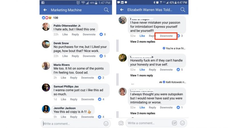 facebook tests reddit like downvote feature for disliking user comments