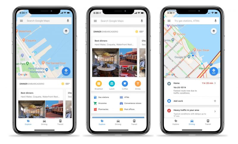 google maps for ios gains quick access traffic transit and local info tabs