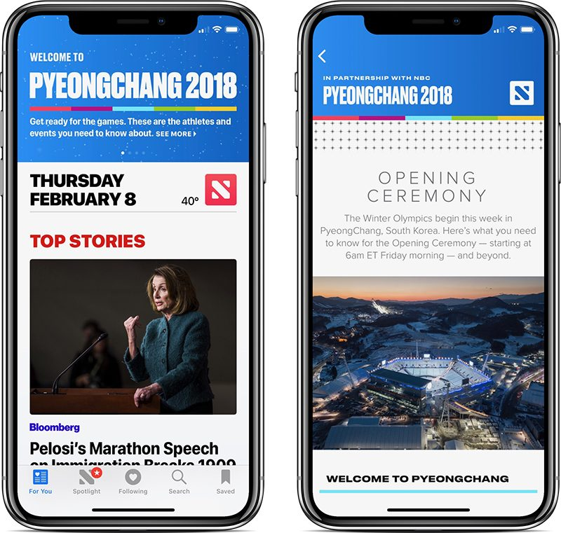 apple news introduces coverage portal of 2018 winter olympics in partnership with nbc